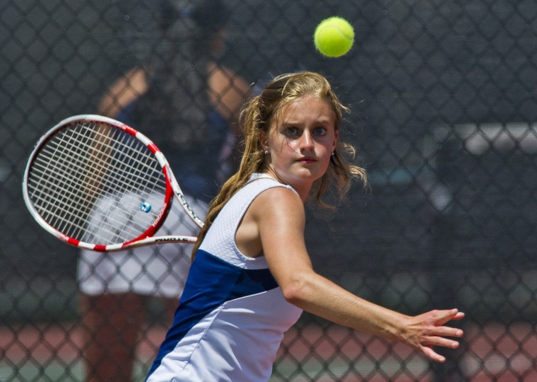 Marriotts Ridge's Abby Thornton returns a shot during her consolation round match at the MPSSAA State Tennis Championships at Cole Tennis Courts at the University of Maryland. (Scott Serio/For BSMG)