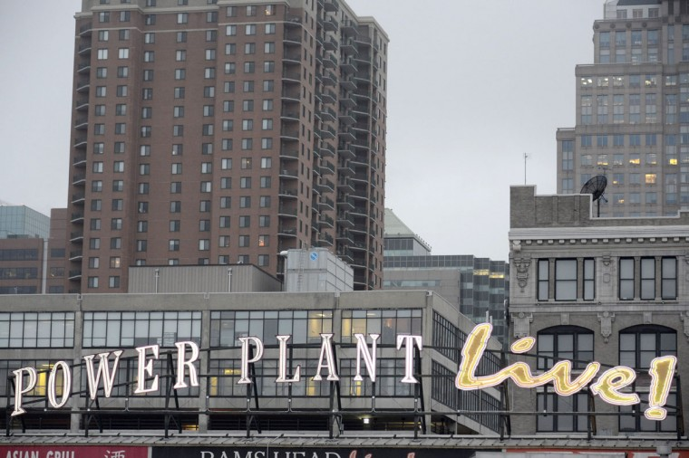 The Power Plant Live sign at the Inner Harbor on a gray day in 2014. (Karl Merton Ferron/Baltimore Sun)