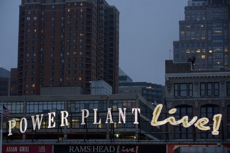 The Power Plant Live sign at dusk in 2014. (Karl Merton Ferron/Baltimore Sun)
