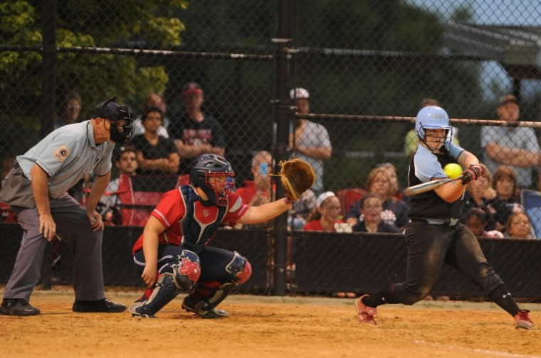 C. Milton Wright's Jenny Lynch swings at a pitch during an at-bat that resulted in a 2 RBI double against Northern-Calvert during the Class 3A state semifinal softball game. (Brian Krista/BSMG)