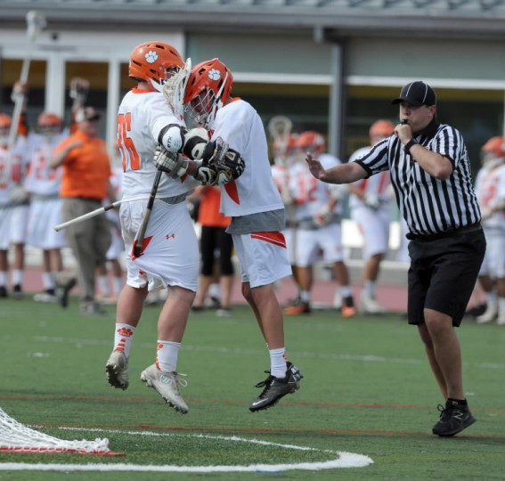 Fallston teammates Brenden Nolan, left, and Ben Claffee celebrate after a goal in Tuesday's Class 2A-1A state championship game against North Carroll. (Matt Button/BSMG)