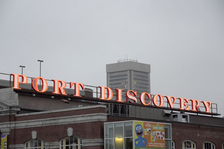 The sign for the children's museum on a gray day in 2014. (Karl Merton Ferron/Baltimore Sun)