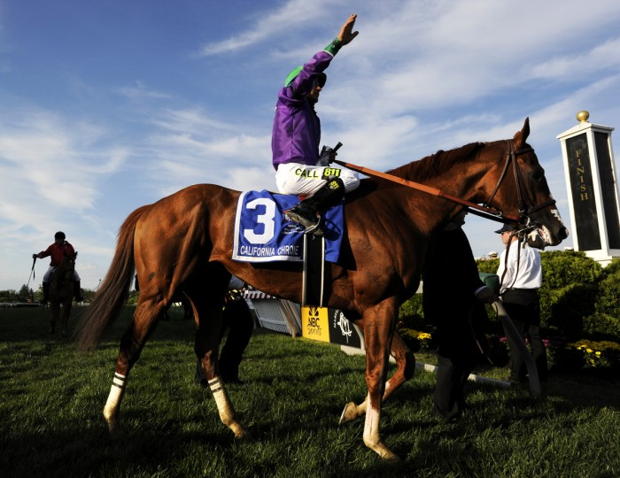 Jockey Victor Espinoza and California Chrome celebrate after winning the 139th Preakness Stakes at Pimlico Race Course. The horse was a heavy favorite after winning the Kentucky Derby. (Christopher T. Assaf/Baltimore Sun)