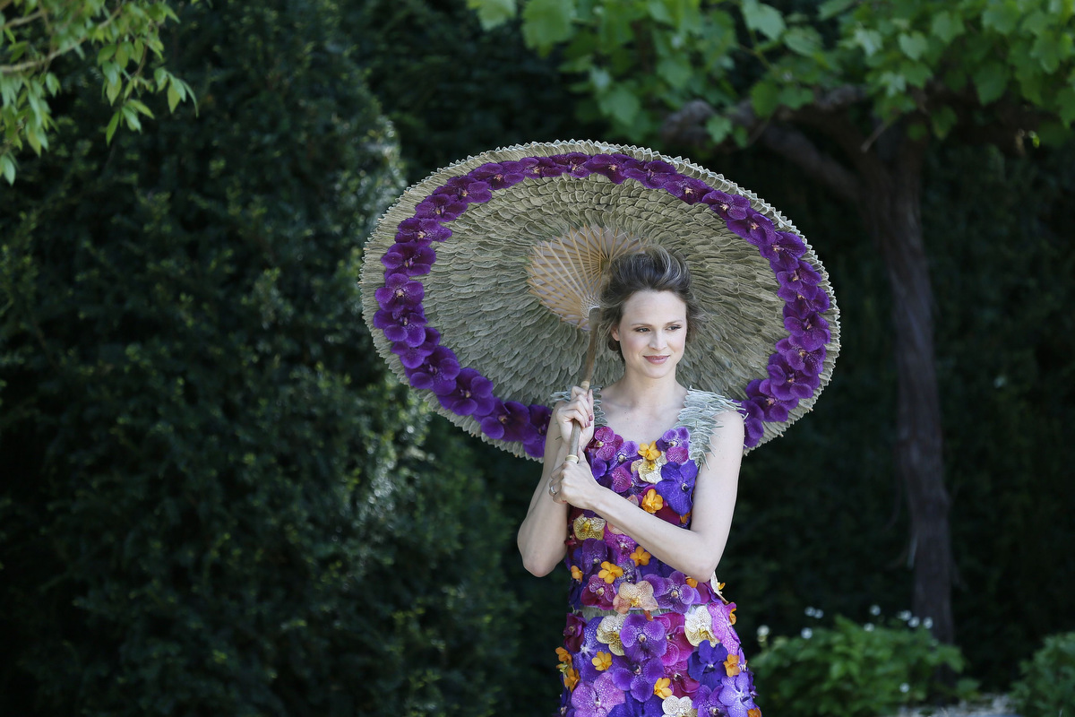 Flowers share the stage with actors and models at London's Chelsea Flower Show