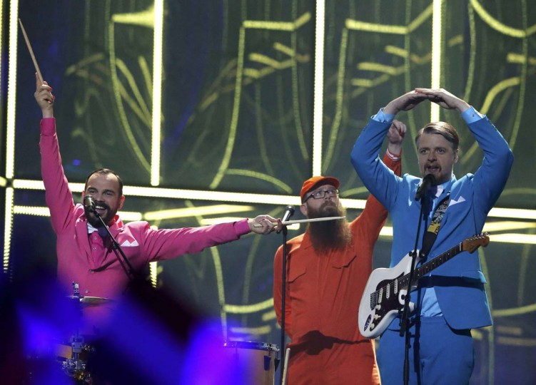 """The band Pollapoenk representing Iceland performs the song """"No Prejudice"""" during the grand final of the 59th annual Eurovision Song Contest at the B&W Hallerne in Copenhagen May 10, 2014. REUTERS/Tobias Schwarz"""