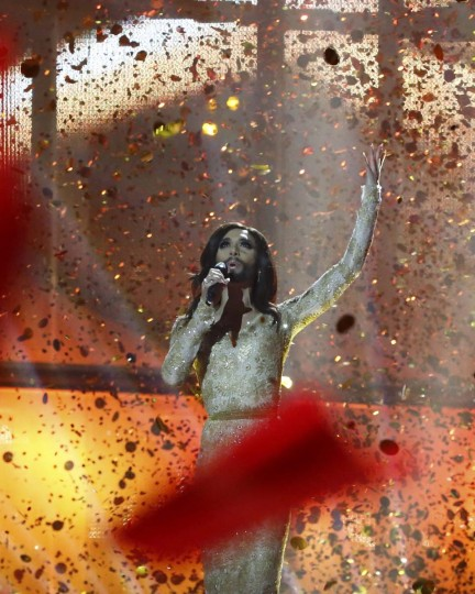"Conchita Wurst representing Austria performs the song ""Rise Like a Phoenix"" after winning the grand final of the 59th Eurovision Song Contest at the B&W Hallerne in Copenhagen May 10, 2014. REUTERS/Tobias Schwarz"