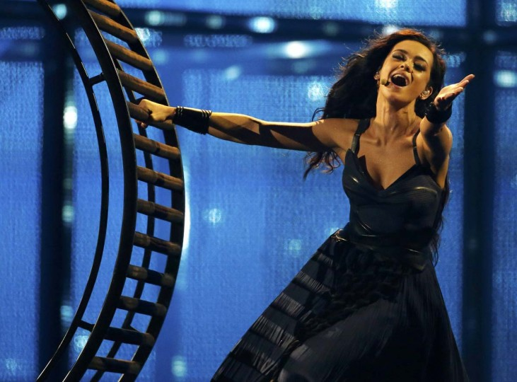 "Singer Mariya Yaremchuk representing Ukraine performs the song ""Tick-Tock"" during the grand final of the 59th annual Eurovision Song Contest at the B&W Hallerne in Copenhagen May 10, 2014. REUTERS/Tobias Schwarz"