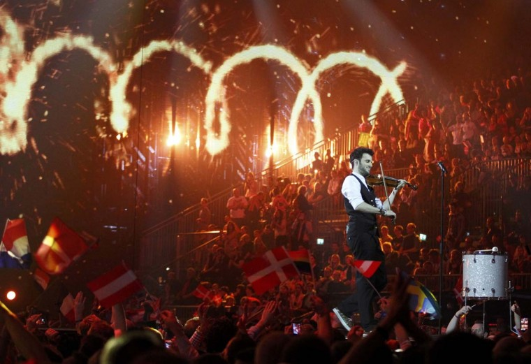 "Sebalter representing Switzerland performs the song ""Hunter of Stars"" during the grand final of the 59th Eurovision Song Contest at the B&W Hallerne in Copenhagen May 10, 2014. REUTERS/Tobias Schwarz"