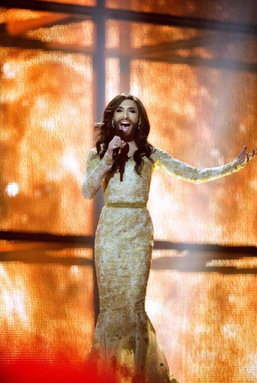 "Conchita Wurst representing Austria performs ""Rise Like a Phoenix"" during a dress rehearsal of the 59th annual Eurovision Song Contest (ESC) at the B&W Hallerne in Copenhagen, in this May 10, 2014 picture provided by Scanpix Denmark. Wurst, popularly known as ""the bearded lady,"" won the ESC on Saturday with the James Bond-theme-like ballad, before a global TV audience of about 180 million people in 45 countries. Picture taken May 10. REUTERS/Keld Navntoft"