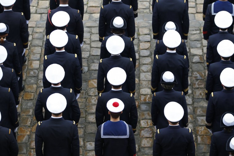 French Navy sailors attend a ceremony in the courtyard of the Invalides in Paris May 22, 2014. REUTERS/Charles Platiau