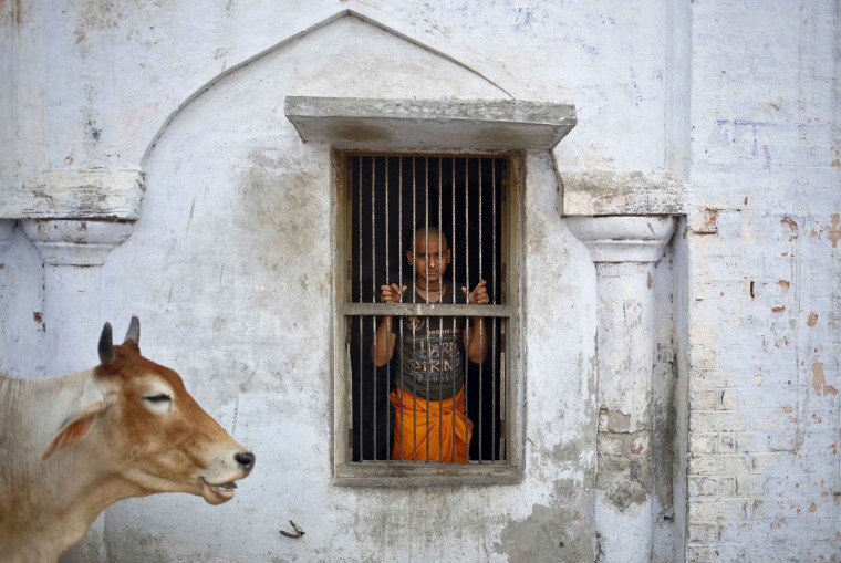 A Hindu boy peeps out from a window grille in an ashram in Ayodhya in the northern Indian state of Uttar Pradesh. (Anindito Mukherjee/Reuters)