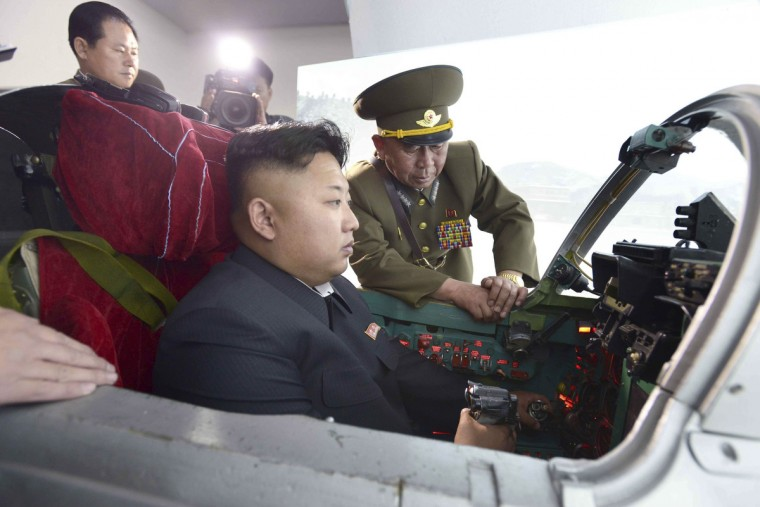 North Korean leader Kim Jong Un inspects the Korean People's Army (KPA) Air and Anti-Air Force Unit 447, which has been honored with the title of O Jung Hup-led 7th Regiment. (Korean Central News Agency)