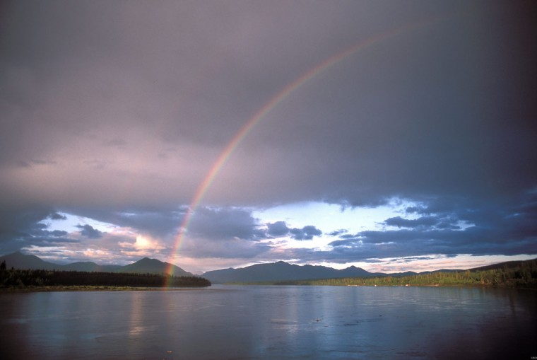 A rainbow is seen over the Yukon River in Eagle, Alaska in this undated handout photo courtesy of the U.S. Geological Society. Alaska has banned fishing for king salmon in the Yukon River in the summer of 2014, saying that runs could come in even lower than 2013's historically low numbers amid a 10-year decline. (REUTERS/U.S. Geological Society/Handout via Reuters)