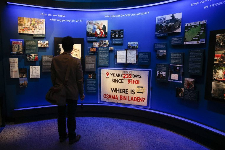 A man stands in the historical exhibition section of the National September 11 Memorial & Museum during a press preview in New York. (Shannon Stapleton/Reuters)