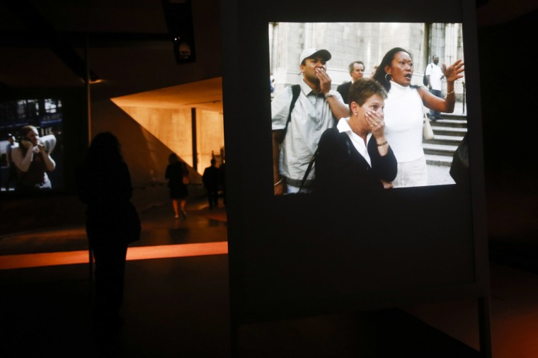 Video images are displayed inside the National September 11 Memorial & Museum during a press preview in New York May 14, 2014. (Shannon Stapleton/Reuters)