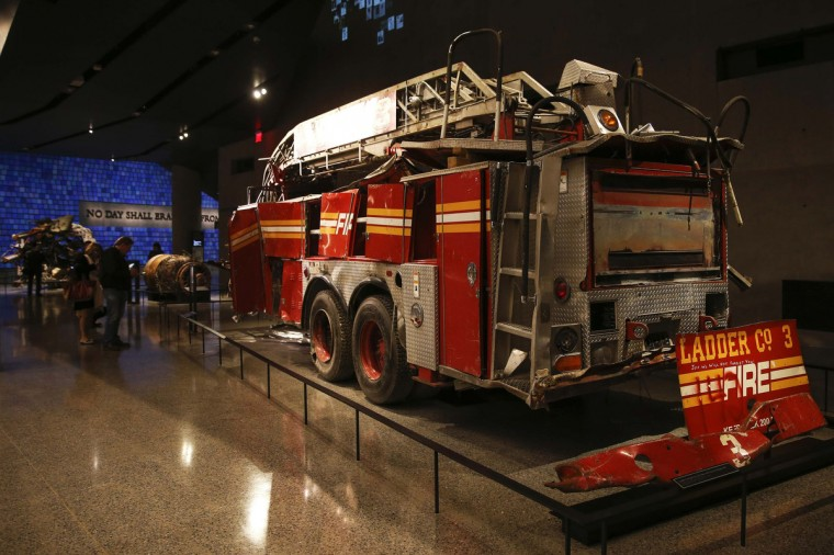 A FDNY fire truck from Ladder Co. 3 is seen inside the National September 11 Memorial & Museum during a press preview in New York. (Shannon Stapleton/Reuters)