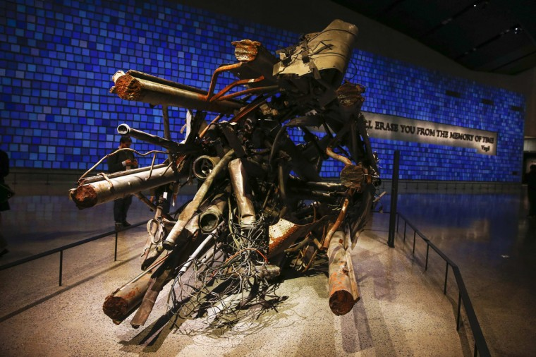 The antenna from the North Tower of the World Trade Center is seen inside the National September 11 Memorial & Museum during a press preview in New York . (Shannon Stapleton/Reuters)