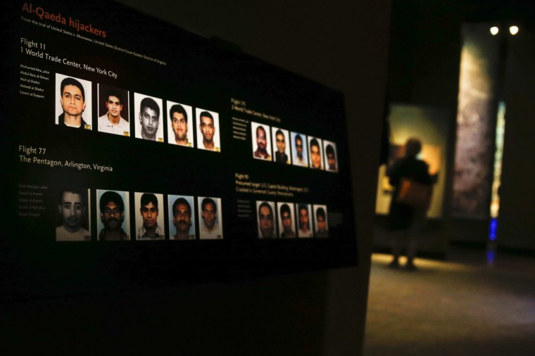 Pictures of the September 11th hijackers are seen inside the National September 11 Memorial & Museum during a press preview in New York. (Shannon Stapleton/Reuters)
