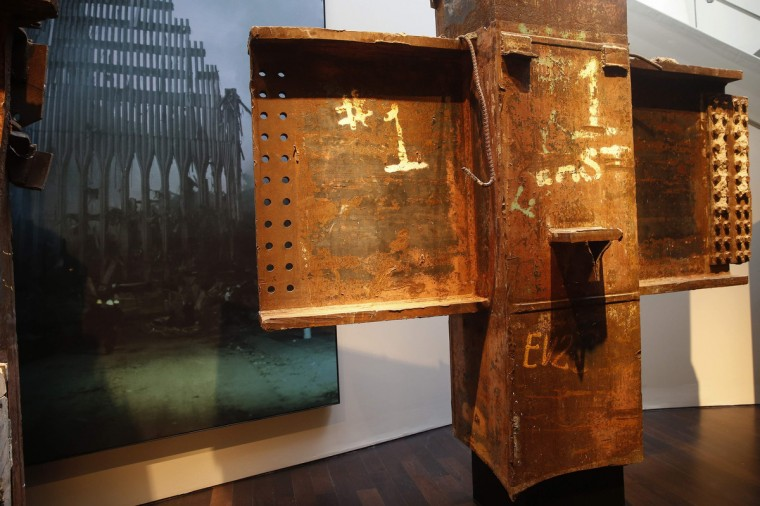 The base of one of the salvaged tridents from the World Trade Center is seen at the National September 11 Memorial & Museum during a media preview in New York. (Shannon Stapleton/Reuters)