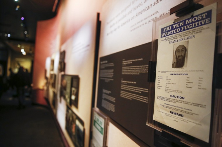 A FBI most wanted poster of Osama Bin Laden from May of 1999 is seen inside the National September 11 Memorial & Museum during a press preview in New York. (Shannon Stapleton/Reuters)