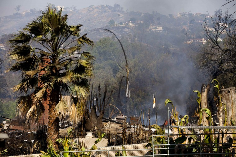 A home that has been burnt down by wildfires is seen on Phoenix Way in San Marcos, California May 16, 2014. Several thousand suburban San Diego residents forced to flee a wildfire threatening their towns were allowed to return home early on Friday as firefighters battled for a third day against a swarm of blazes burning in and around California's second-largest city. (REUTERS/Sam Hodgson)