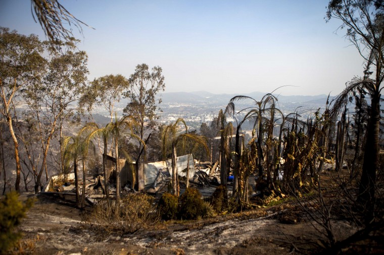 A house that has been burnt down by wildfires is seen on Phoenix Way in San Marcos, California May 16, 2014. California firefighters were battling wind-whipped wildfires on Friday, as some 125,000 people fled their homes in the San Diego area and police arrested at least two people on arson-related charges. (REUTERS/Sam Hodgson)