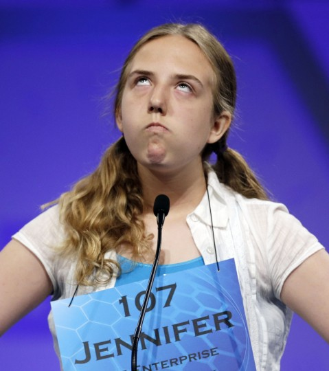Jennifer Tenant of Hollywood, Maryland reacts as she misspells her word during round two of the preliminaries at the Scripps-Howard National Spelling Bee at National Harbor, Maryland (Gary Cameron/Reuters)