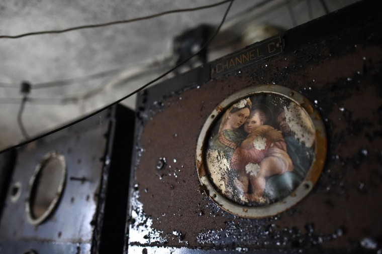 A painting of the Virgin Mary and child remains in the radio room of the now-closed Eastern State Penitentiary in Philadelphia. (REUTERS/Mark Makela)