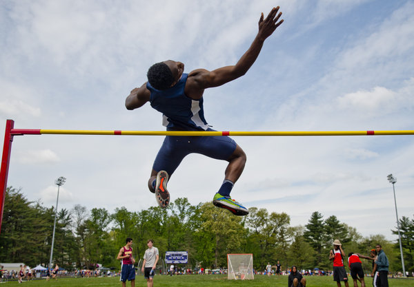 """Patapsco's Lyndale Bethea clears the bar at 5'10"""" in the high jump during the Baltimore County Track and Field Championships at Pikesville High School in Pikesville on Saturday, May 10. (Scott Serio, Baltimore Sun Media Group)"""