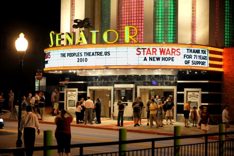 """Shown is the last crowd under Tom Kiefaber's ownership of the Senator Theatre following a showing of """"Star Wars."""" (Sun photo by Gene Sweeney Jr. )"""