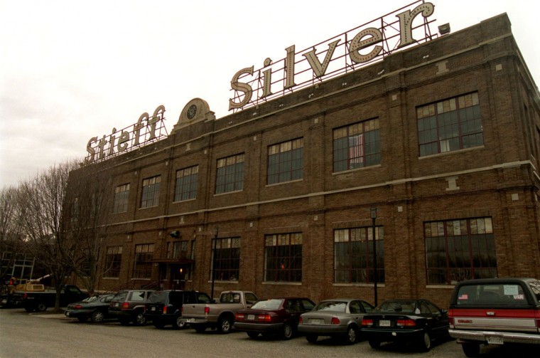 The well known landmark Stieff Silver building, which can be seen from 83 South, in 2002. (Sun photo by Monica Lopossay)
