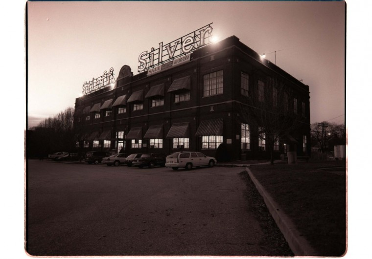 Exterior of the Stieff Silver factory at dusk in 1998. The Stieff Silver sign, always a landmark, is lit up at night. (Sun photo by Amy Davis)