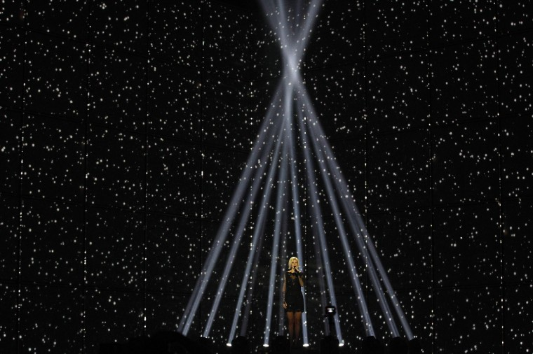 "Singer Sanna Nielsen representing Sweden performs the song ""Undo"" during the dress rehearsal for the final of the upcoming 59th annual Eurovision Song Contest at the B&W Hallerne in Copenhagen. (Tobias Schwarz/Reuters)"