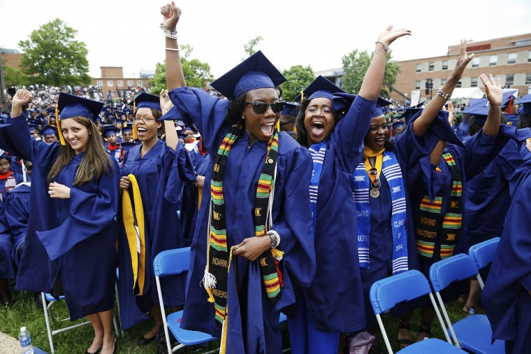 Graduates celebrate during the 2014 graduation ceremonies at Howard University in Washington, D.C. Entertainer Sean Combs delivered the commencement address and received an honorary degree in Humanities during the ceremony. (Jonathan Ernst/Reuters)