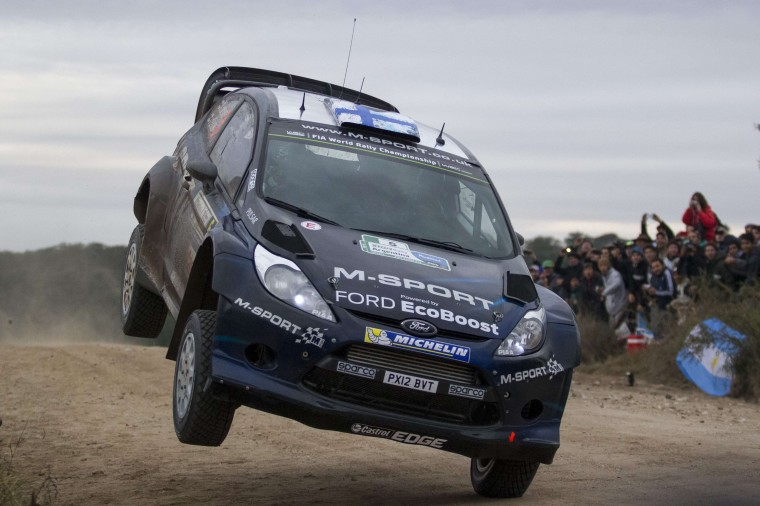 Finnish driver Mikko Hirvonen goes airborne in his Ford Fiesta RS WRC during the 6th stage of the WRC Argentina 2014 near Las Bajadas, Cordoba, Argentina. (Diego Lima/AFP-Getty Images)