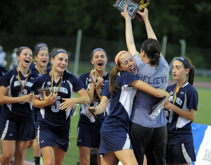 Manchester Valley celebrates its win over Fallston in the Championship 1A-2A Lacrosse finals at UMBC. (Lloyd Fox/Baltimore Sun)