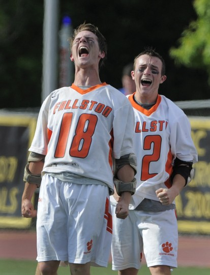 Fallston's Steven Ernst, left, and Keegan Teluk celebrate their championship win over North Carroll. (Lloyd Fox/Baltimore Sun)