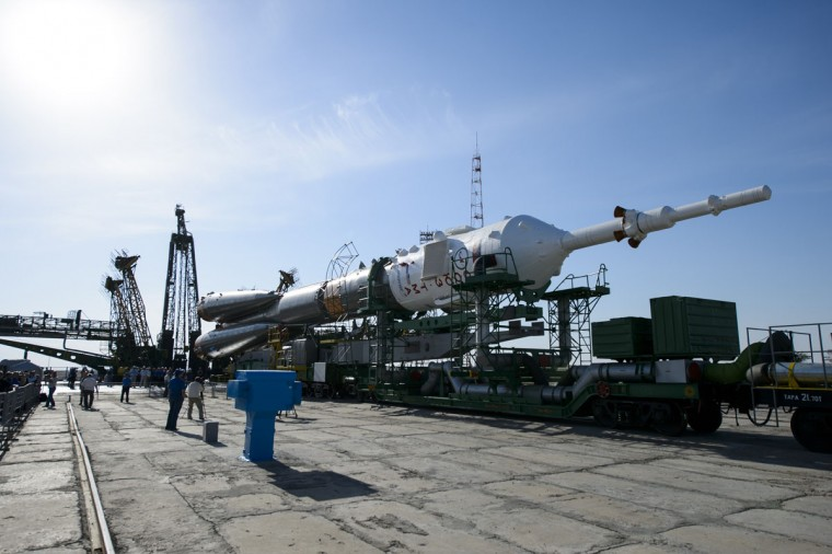 In this handout provided by NASA, The Soyuz spacecraft is rolled out by train to launch pad 1 at Baikonur Cosmodrome launch pad on May 26, 2014 in Baikonur, Kazakhstan. The launch of the Soyuz rocket to the International Space Station (ISS) on Expedition 40/4 is scheduled at 20:56 GMT (21:56 pm CEST) on 28 May. (Photo by Joel Kowsky/NASA via Getty Images)
