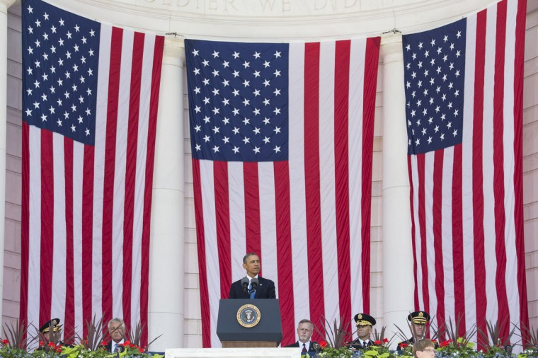 U.S. President Barack pauses speaks during a Memorial Day event at Arlington National Cemetery, May 26, 2014 in Arlington, Virginia. Obama returned to Washington the morning of May 26, after a surprise visit to Afghanistan to visit U.S. troops at Bagram Air Field. (Pool photo by Drew Angerer/Getty Images)