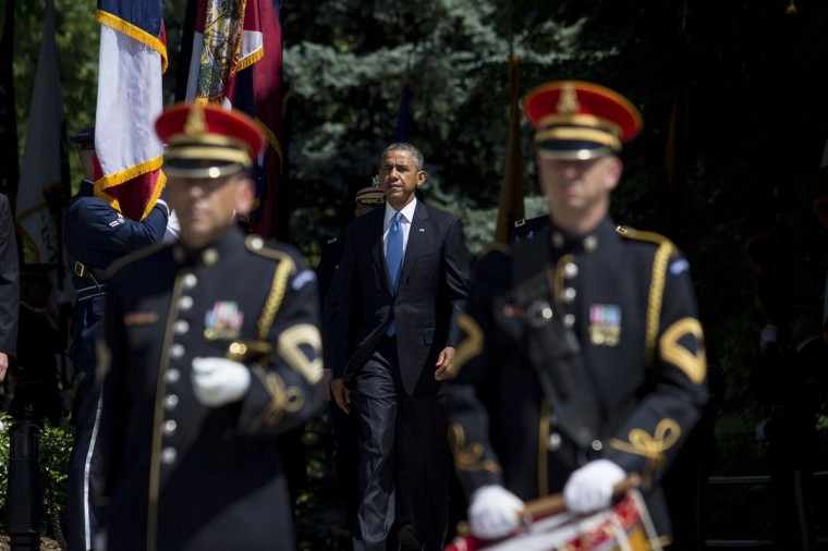 President Barack Obama arrives for a wreath laying ceremony at the Tomb of the Unknown Soldier at Arlington National Cemetery, in Arlington, Va., on May 26, 2014. (Drew Angerer/SIPA/Abaca Press/MCT)