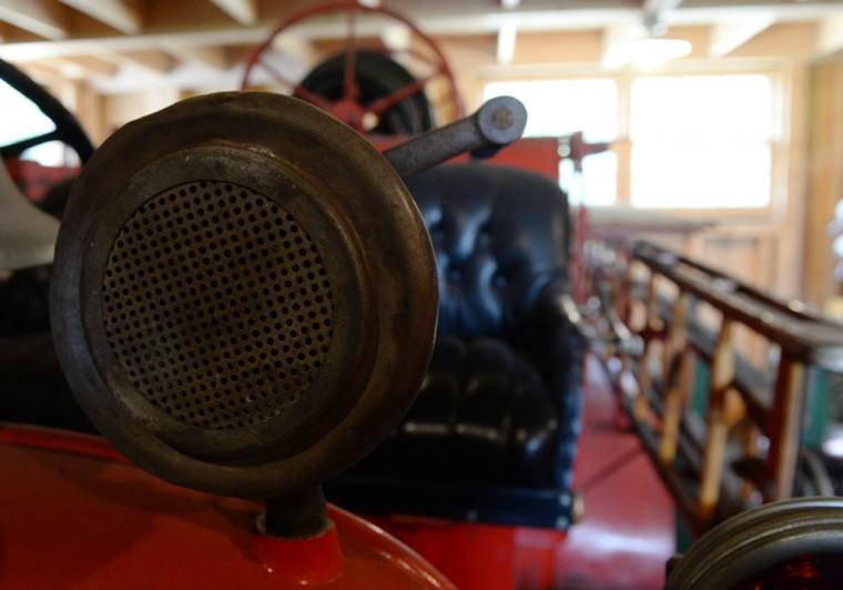 A detail shot of a siren on an antique fire truck at the farm of Highland resident Scott Shearer. (Jon Sham/BSMG)