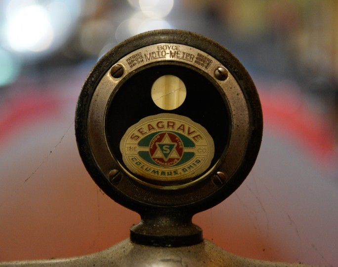A detail shot of a hood ornament on an antique fire truck at the farm of Highland resident Scott Shearer. (Jon Sham/BSMG)