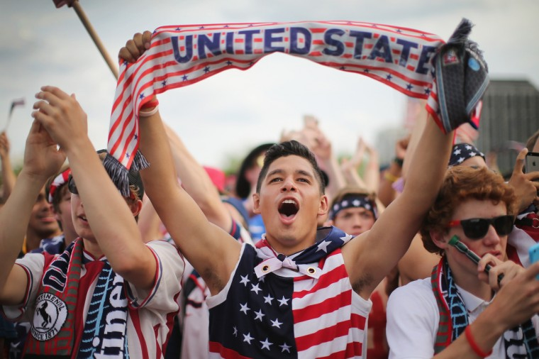 Carlos Pineda joins other fans in Grant Park to watch the U.S. play Ghana in a World Cup soccer match in Chicago, Illinois. The United States defeated Ghana 2-1. (Scott Olson/Getty Images)