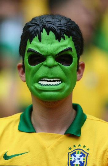 A Brazil fan wears a Hulk mask before the 2014 FIFA World Cup Brazil Group A match between Brazil and Mexico at Castelao on June 17, 2014 in Fortaleza, Brazil. (Michael Steele/Getty Images)