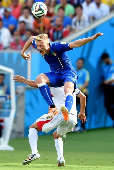 Ignazio Abate of Italy goes up for a header against Christian Bolanos of Costa Rica during the 2014 FIFA World Cup Brazil Group D match between Italy and Costa Rica at Arena Pernambuco on June 20, 2014 in Recife, Brazil. (Photo by Claudio Villa/Getty Images)
