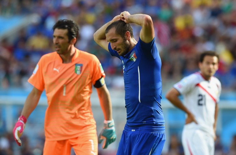 Giorgio Chiellini of Italy looks dejected during the 2014 FIFA World Cup Brazil Group D match between Italy and Costa Rica at Arena Pernambuco on June 20, 2014 in Recife, Brazil. (Photo by Claudio Villa/Getty Images)