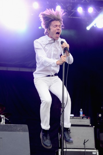 Matt Shultz of Cage the Elephant performs onstage during day 3 of the Firefly Music Festival on June 21, 2014 in Dover, Delaware. (Theo Wargo/Getty Images)