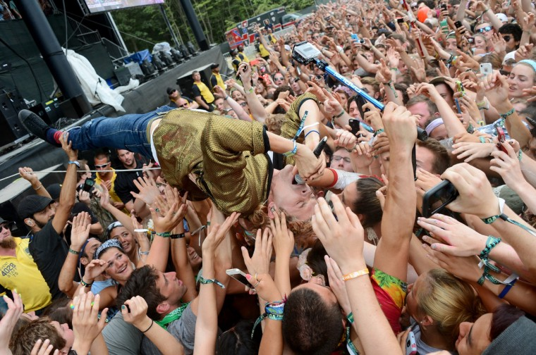 Christian Zucconi of Grouplove performs onstage during day 3 of the Firefly Music Festival on June 21, 2014 in Dover, Delaware. (Theo Wargo/Getty Images)
