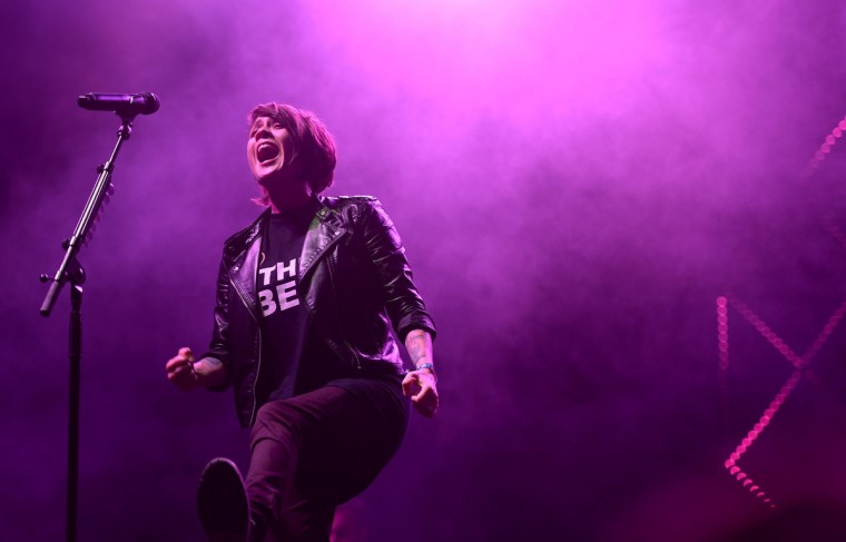 Tegan Quin of Tegan and Sara performs onstage during day 3 of the Firefly Music Festival on June 21, 2014 in Dover, Delaware. (Michael Loccisano/Getty Images)