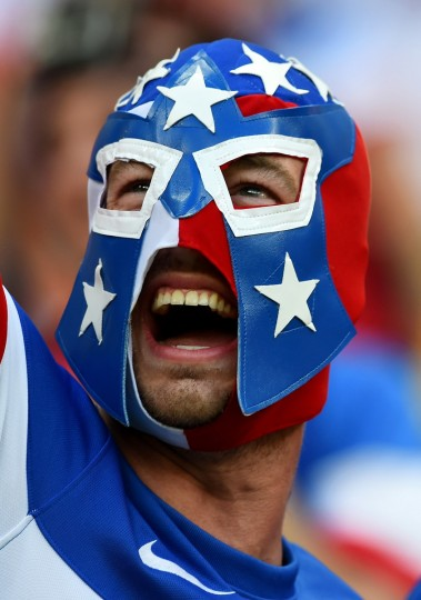 A fan of the United States looks on prior to the 2014 FIFA World Cup Brazil Group G match between the United States and Portugal at Arena Amazonia on June 22, 2014 in Manaus, Brazil. (Christopher Lee/Getty Images)